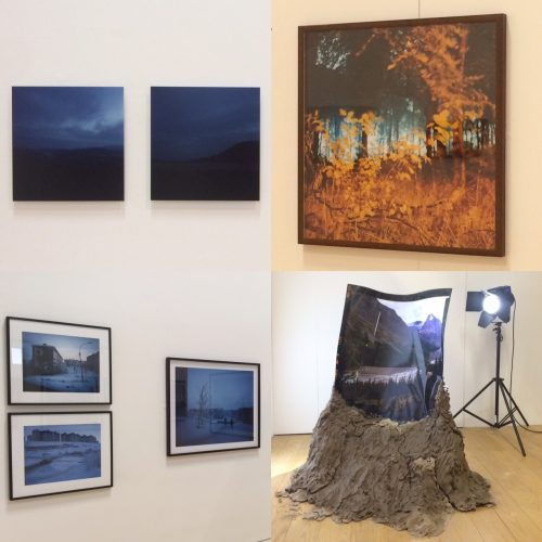 The exhibition featured work by artists including, clockwise from top left Aileen Harvey, Liza Dracup, Alexandra Hughes and Simon Roberts