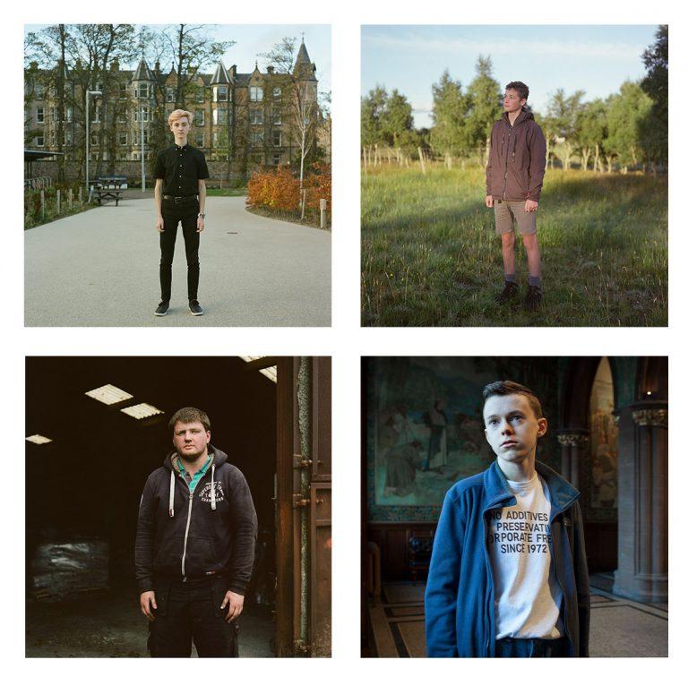 Alejandro, Edinburgh, Robbie, Caithness, Callum North Uist and Cameron, Edinburgh, all aged 16, Project 16, 2017 - 2018 all images © Sophie Gerrard
